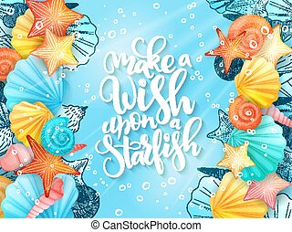 vector illustration of hand lettering phrase with frame from seashells on sea water background