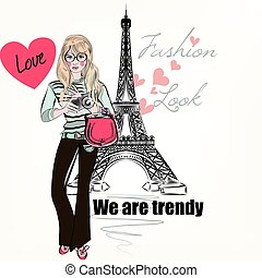 Fashion trendy girl with cute retro camera, stylish bag and...