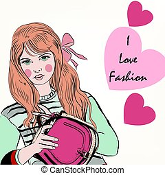 Fashion trendy girl with cute stylish bag and hearts.eps
