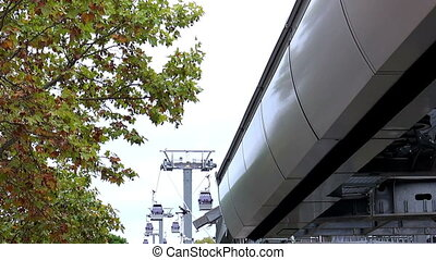 Cabin cable car. Cableway. Barcelona. Spain. - Cabin cable...