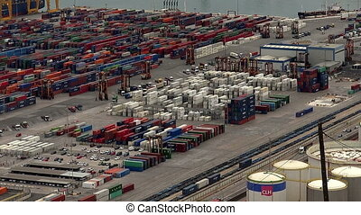 Cargo port. Barcelona, Spain. - Container Port docks ship...