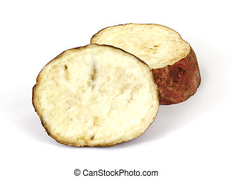 Two slices of cut batata - A batata that has been cut into...