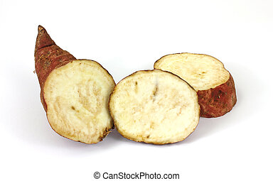 Cut batata - A batata that has been cut into sections on a...