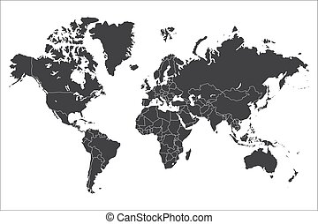 Political world map isolated on white background, vector...