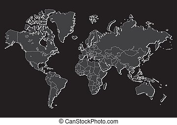 Political world map with shadow isolated on gray background,...