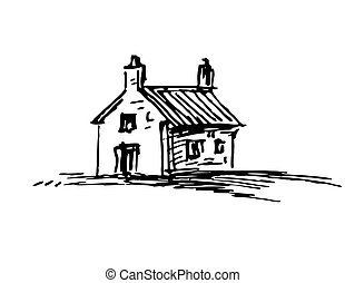 Ink sketch of barn - Old stone house. Ink sketch. Isolated...