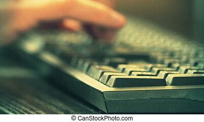 Man typing something using computer keyboard. 4K video - Man...