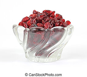 Dried cranberries in leaded glass dish