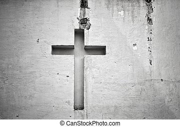 Cross figure religion wall