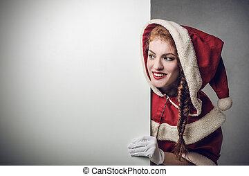 Santa woman peeking from wall