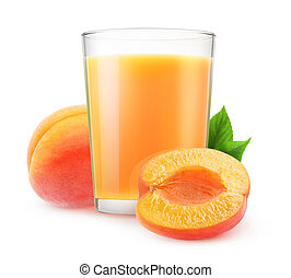 Isolated apricot juice - Isolated juice. Glass of apricot...