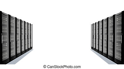 A number of server racks facing each other