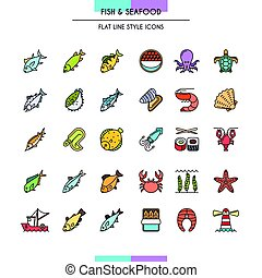 Fish and seafood icons - Fish and seafood flat line icons...