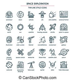 Space Exploration thin line icons set. Vector illustration