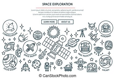 Space Exploration Banner 2 - Space Exploration Banner with...