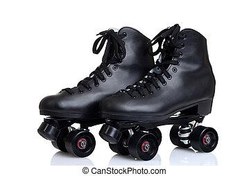 men's black leather quad roller skates