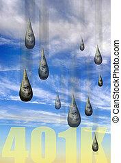 Money rain drops of your 401K