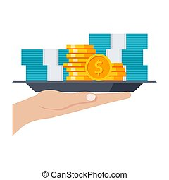 Money Vector Icon - Grant concept with money on the tray,...