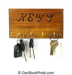 Old key rack with keys