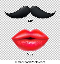 Moustaches With Lips Gradient Mesh, Vector Illustration