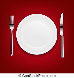 Plate With Fork And Knife With Red Cloth