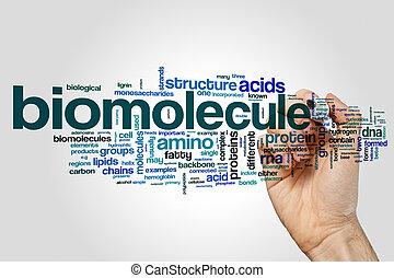 Biomolecule word cloud on grey background.