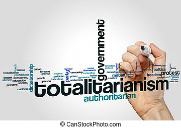 Totalitarianism word cloud concept on grey background