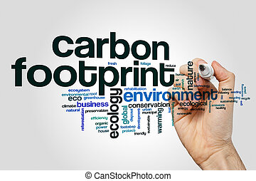 Carbon footprint word cloud concept on grey background.