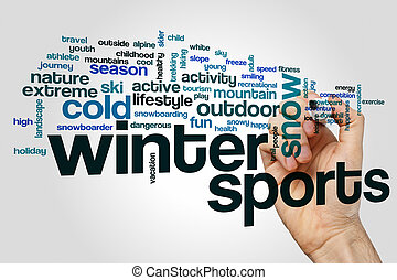 Winter sports word cloud concept on grey background
