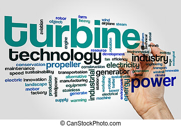 Turbine word cloud concept on grey background