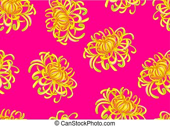 Seamless pattern with chrysanthemum flowers. Decorative...
