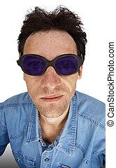 Funny man in dark glasses