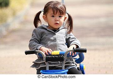 tricycle,  (2, japonaise, années,  old), équitation,  girl