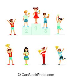 Happy young children holding their golden trophies, set for label design. Cartoon detailed colorful Illustrations