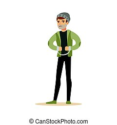Robber in handcuffs. Colorful cartoon character vector Illustration