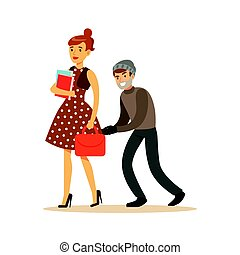 Pickpocket trying to steal bag from girl. Colorful cartoon...