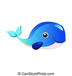 Blue humpback whale, sea creature. Colorful cartoon...