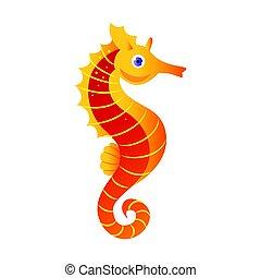 Seahorse or hippocampus, sea creature. Colorful cartoon...