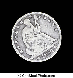 Front side of old seated liberty half dollar - The front...