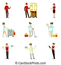 Staff in the hotel set for label design. Receptionist, cook, waiter, maid, porter. Colorful cartoon detailed Illustrations