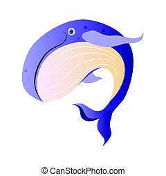 Cachalot or sperm whale, sea creature. Colorful cartoon...