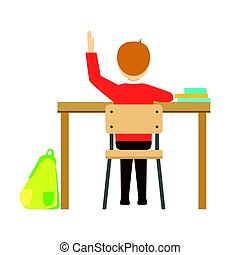 Boy Raising Hand Sitting At His Desk In Classroom, Part Of School And Scholar Life Series Of Minimalistic Illustrations