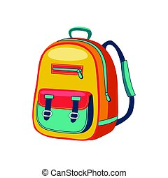 Yellow And Blue Schoolkid Backpack, Set Of School And...