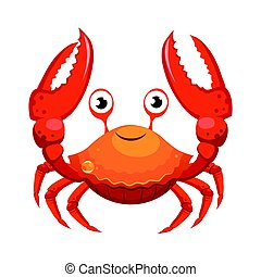 Red crab, sea creature. Colorful cartoon character isolated...