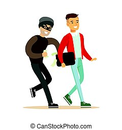 Pickpocket trying to steal money from smiling man . Colorful...