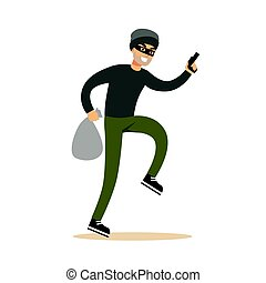 Robber in mask with sack and gun. Colorful cartoon character vector Illustration