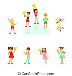 Smiling young boys and girls celebrating their medals and winner cups, set for label design. Cartoon detailed colorful Illustrations