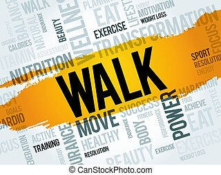 WALK word cloud, fitness, sport, health concept