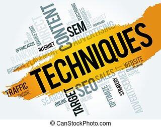 Techniques word cloud, business concept