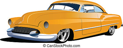 Fifty years old  yellow sedan. Vec